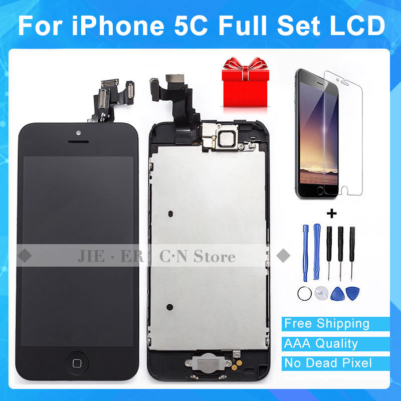 TEST AAA+ Black For iphone5C Touch Screen Digitizer Frame + Home Button + Front Camera +Tools +Glass Gift