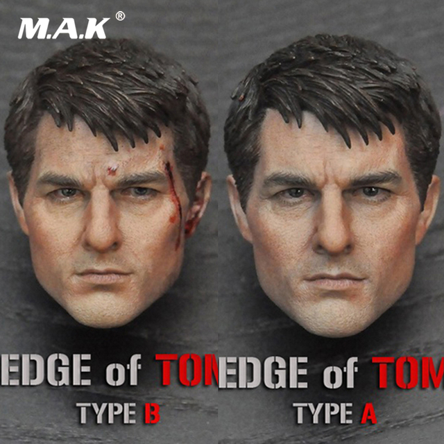 1/6 Male Head Sculpt Edge of Tomorrow Tom Cruise Head Carved US Actor Head Model Nomarl/Damaged for 12'' Action Figure Body
