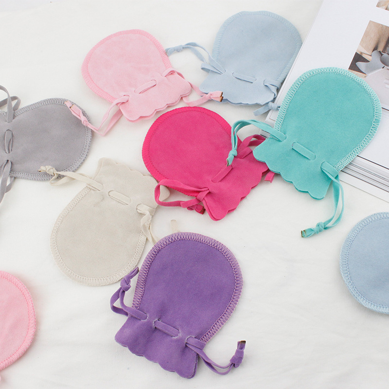 5pcs/lot Macaroon Color 7x9cm Velvet Drawable Organza Bags Calabash Shape Storage Pouches Gift Bags For Jewelry Packaging