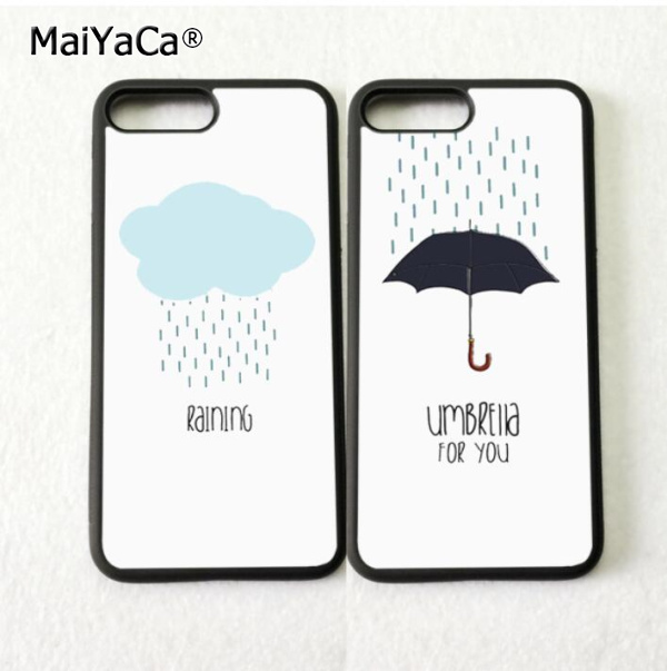 the best attitude 28d45 257e5 US $4.38 |Rain and couple BFF best friend love pair soft phone cases for  iPhone 5s se 6 6s plus 7 7plus 8 8plus X XR XS MAX case cover-in  Half-wrapped ...