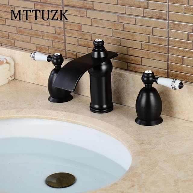 Mttuzk 3 Piece Set Faucet Oil Bubbed Bathroom Deck Mounted Sink Tap Basin