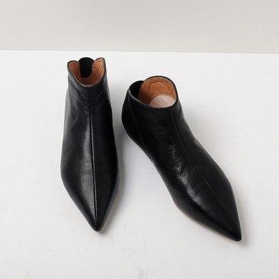Souple Chaussures Fille Pointu Femme Cuir Jeune Peau Appartements Enceinte Glissement blanc Noir Printemps Occasionnels Sur Hiver Bout En Moderne 3FclJ1TK