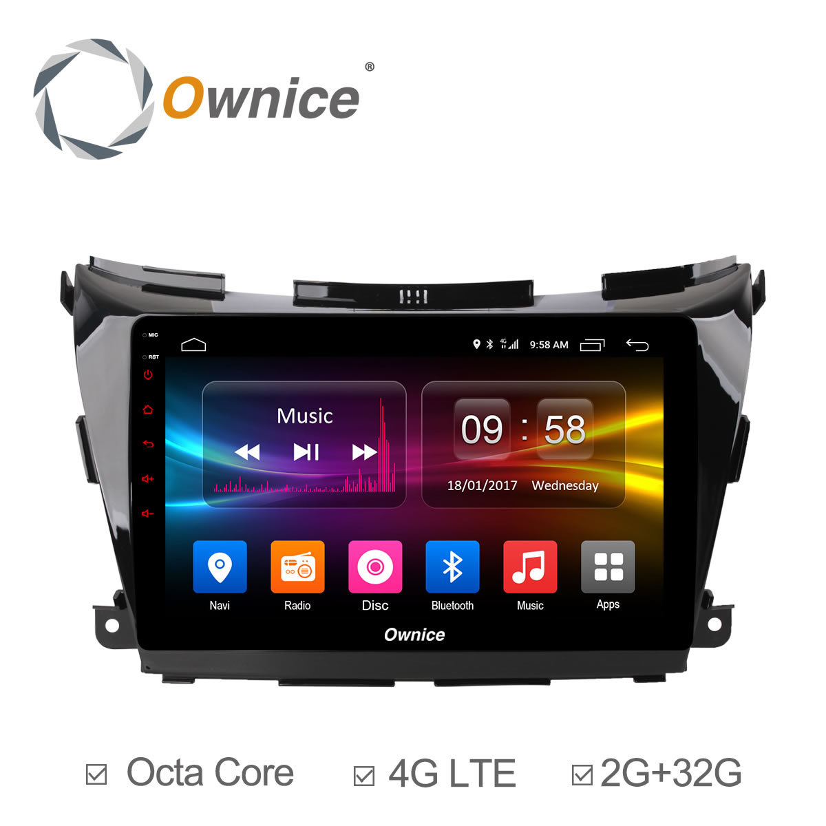 Ownice C500 + 10.1 octa base Android 6.0 GPS NAVI DVD Radio Player Pour Nissan Murano Z52 2015 ~ 2017 Soutien 4G SIM DAB + 32G ROM