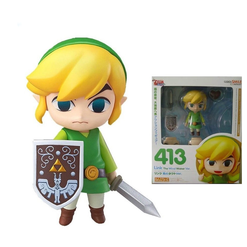 Nendoroid Link The Legend of Zelda The Wind Waker Posable Action Figure 413 NEW in Box  nendoroid the legend of zelda link majora s mask 3d figure with original box