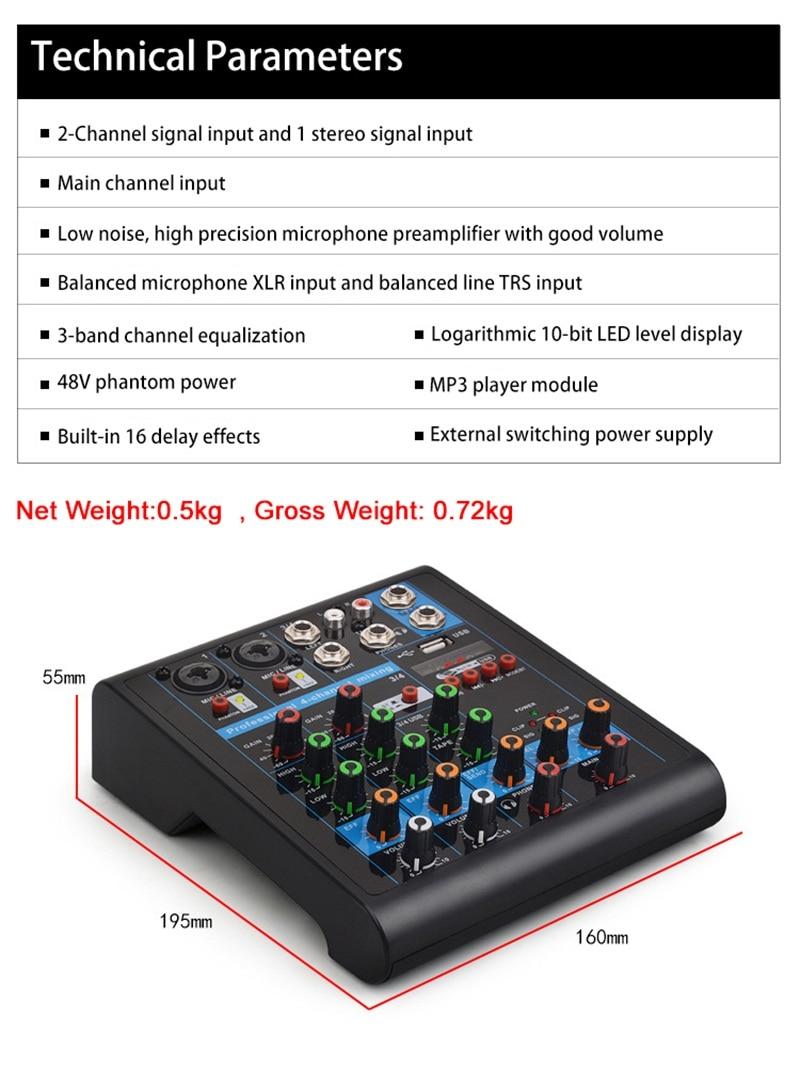 Felyby misturador de áudio portátil com usb