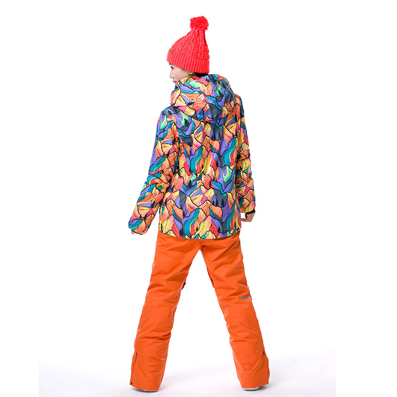 GSOU SNOW Brand Women's Ski Suit Winter Outdoor windproof Waterproof Ski Jacket Warm Wear resisting Cotton Clothes - 2