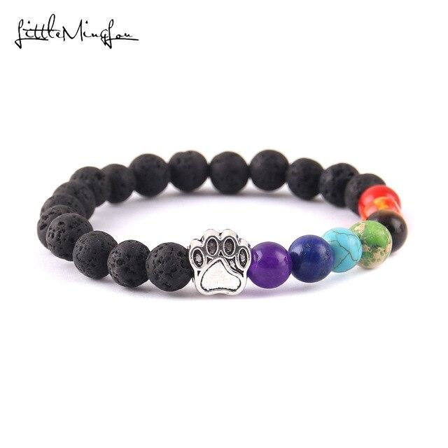 Pequeño minglou 7 Chakra piedra yoga natural energía cuentas gato amuleto de pata de perro hombres pulsera brazalete con cuentas budista y brazaletes para las mujeres