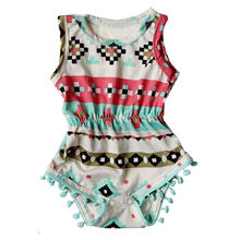 Cute Baby Girls Summer Jumpsuit Geometric Sleeveless Cotton Romper Jumpsuit Summer Sunsuit Outfit Clothes