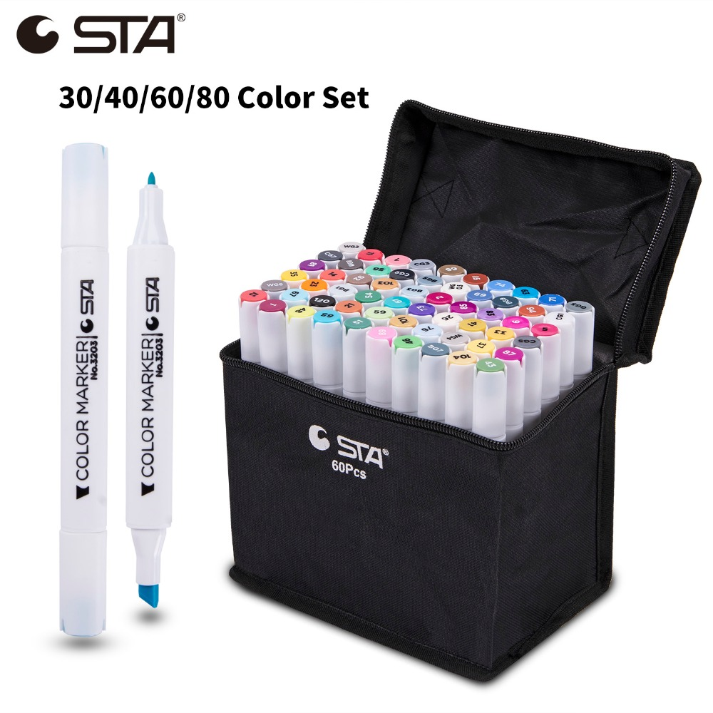 STA 30/40/60/80 Colors Art Markers Alcohol Based Markers Drawing Pen Set Comic Dual Headed Sketch Marker Design Pens Supplies sta 128 colors double headed sketch alcohol drawing marker pen 24 36 48 60 72 set animation common paint sketch art marker