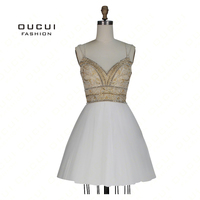 Real Photos Ball Gown Evening dress prom dress Short Handmade crystal Sweetheart Spaghetti Strap OL102956B