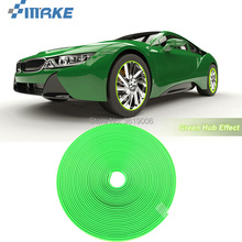 smRKE 8M Car Wheel Hub Rim Edge Protector Ring Tire Strip Guard Rubber Stickers On Cars Green Styling