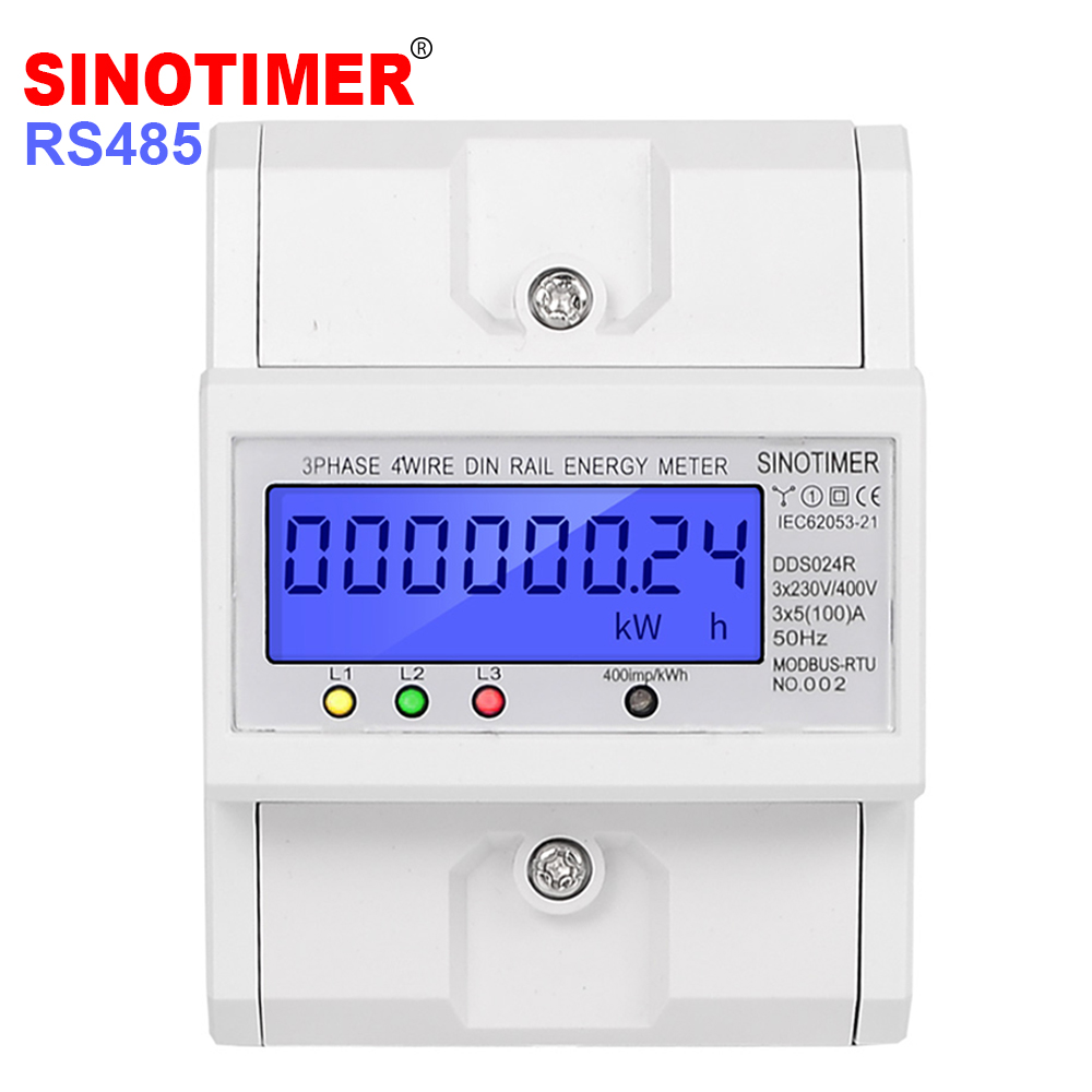 RS485 Modbus Rtu DIN Rail 3 Phase 4 Wire Electronic Wattmeter Power Consumption Energy Meter 5