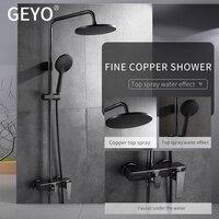 GEYO Bronze Black Bathroom Shower Faucet Mixer Wall Mount 8 Rainfall Shower Set Mixer Tap Brass Tub Spout Bath Shower Mixers
