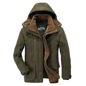 Image 2 - Winter Jacket Men Thick Warm Hooded Parka Military Cargo Mens Winter Coat Warm Fleece Male Overcoat Plus Size M  5XL