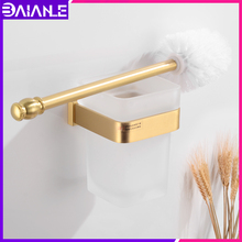 Toilet Brush Holder Wall Mounted Brass Creative Bathroom Clean Cleaning Brush Accessories Bathroom Toilet Brush Set Glass Cup