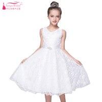 אורך תה קו תחרת שמלת Pagent שמלות בנות--עבור צד-and-חתונה עם אבנט חגורת robe mariage enfant במלאי סין ZF016
