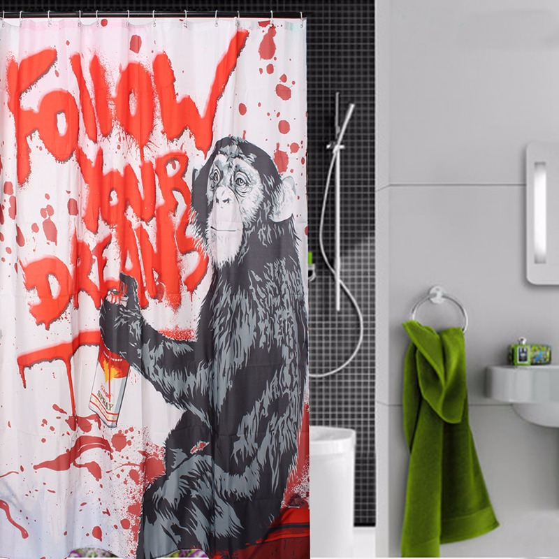 NEW!!!180x200cm Waterproof Polyester Chimpanzee Graffiti Follow Your Dreams Monkey  Bathroom Shower Curtain Bathroom Decor Gift