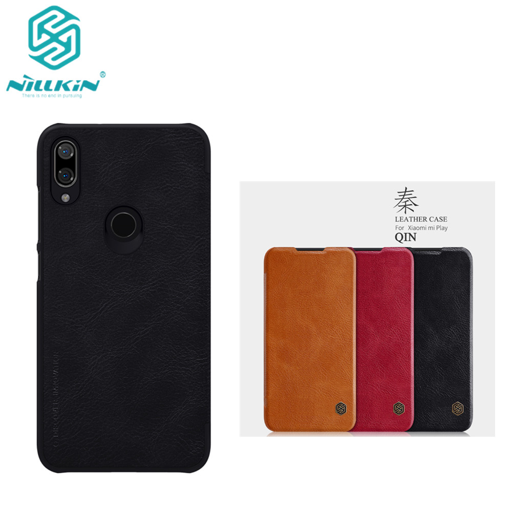 10pcs lot Wholesale NILLKIN Qin Series Wallet Flip Leather Case For Xiaomi mi Play Genuine Flip