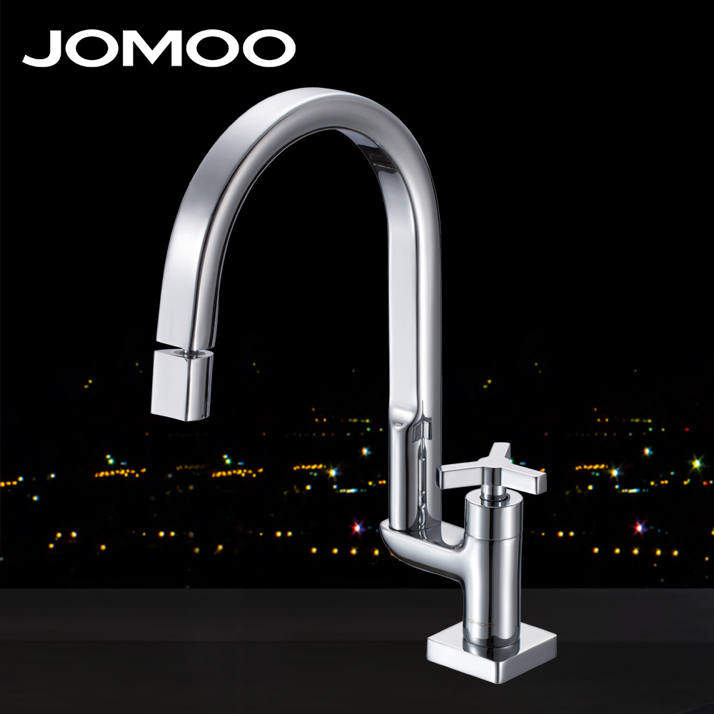 JOMOO Deck Mounted Brass Chrome Finish Kitchen Faucet Single Handle Single Hole Sink Faucet spout 360 degree Rotatable mixer tap polished chrome deck mounted bathroom kitchen faucet tap single handle with brass soap dispenser