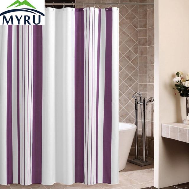 MYRU Europe Style Purple Vertical Stripes Shower Curtain Polyester ...