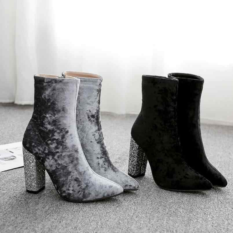 black gray pleuche ankle boots women sequined glitter high heels winter  boots female pointed toe d2a4d327dc2b