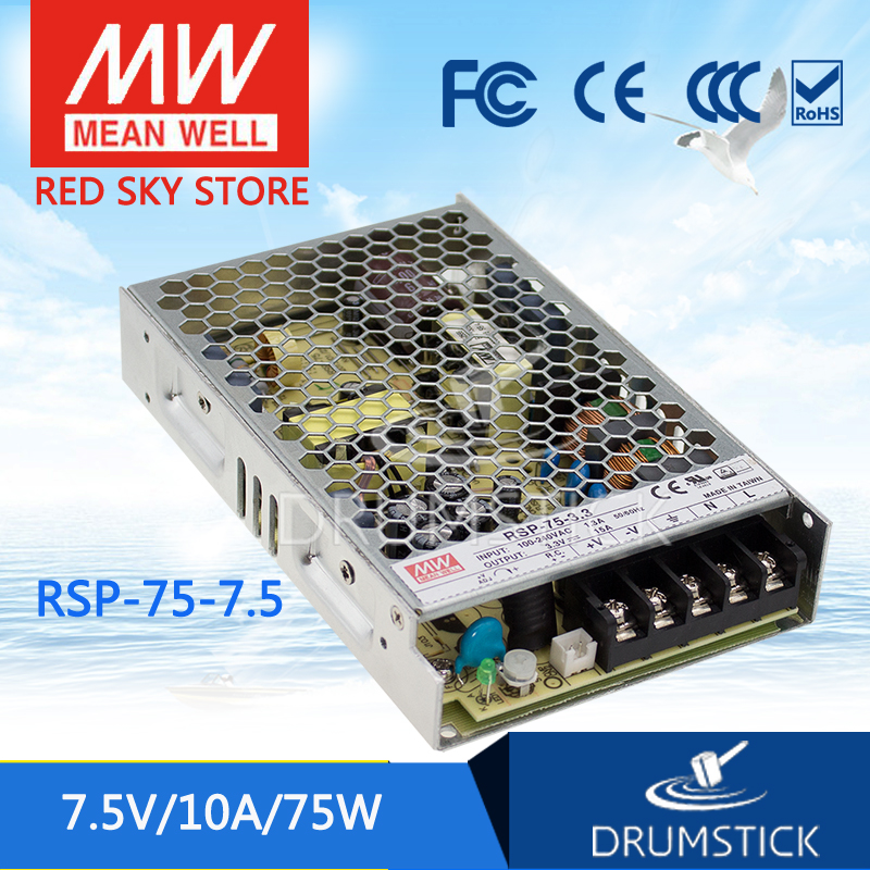 все цены на Advantages MEAN WELL RSP-75-7.5 7.5V 10A meanwell RSP-75 7.5V 75W Single Output with PFC Function Power Supply онлайн