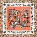 100 см * 100 см Шелковой Саржи Женщин 100% Шелковый Роскошный Leopard Цветок Цепи Печати Шелковый Шарф Femal Высокой качество Шаль