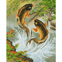 Full Drill 5D DIY Diamond Painting Fishes play with Water Cross Stitch Diamond Embroidery Rhinestone Diamond Mosaic Painting(China)
