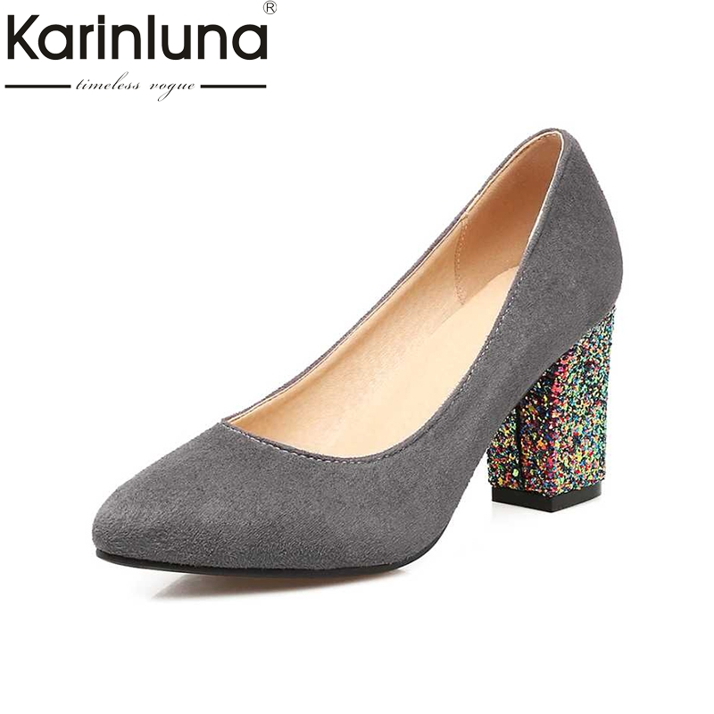 KARINLUNA Glitter Women Pumps Sexy Chunky High Heel Pointed Toe Party Wedding Office Ladies Shoes 2017 Woman Flock Footwear eiswelt shoes spring summer fashion rivet flats party pointed flock women shoes wedding shoes glitter flat ladies shoes zjf84