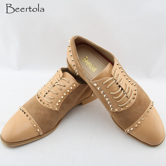 e97038e79d US $100.85 |Aliexpress.com : Buy Beertola Casual Men's Shoes Low Top  Leather Vintage Shoes Male Patchwork Studded Rivets Zapatos Hombre Free  Shipping ...