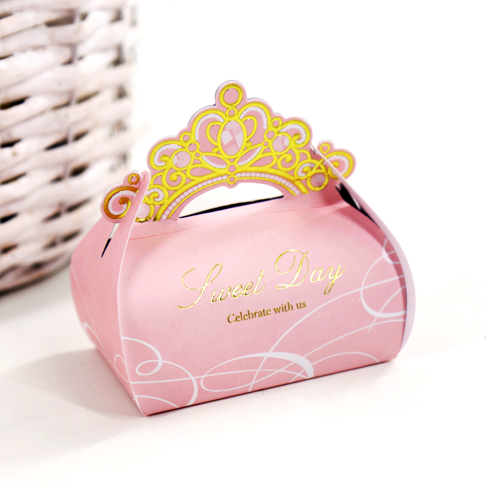 10pcs/lot Bronzing Crown Favor Candy Box For Wedding Party Birthday Engagement Candy Boxes Chocolate Gift Packaging Box