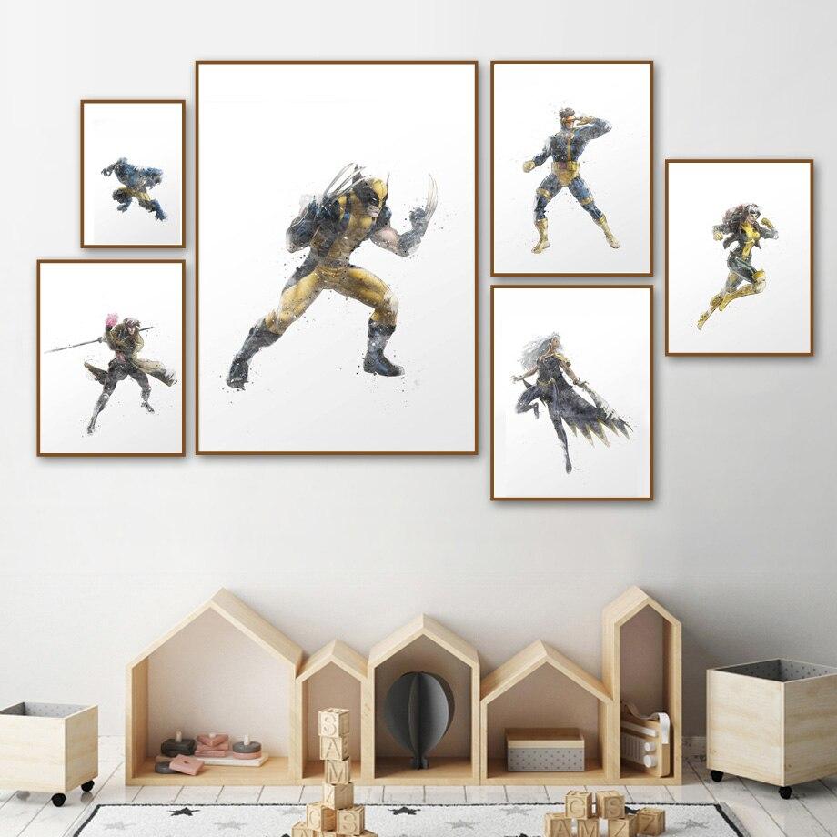 Cyclope Wolverine Tempête Gambit Mur Art Toile Peinture Anime Nordique Affiches Et Gravures Super-Héros Mur Photos Pour Chambre D'enfants