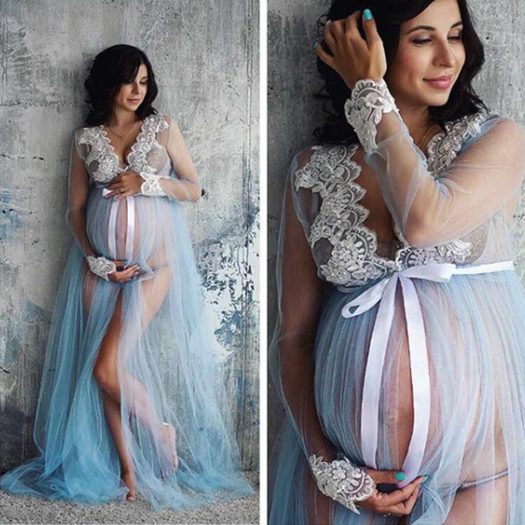 Telotuny vestido de maternidade feminino rendas sexy vestidos de maternidade mulheres gravidez rendas longo maxi vestido arte foto #40