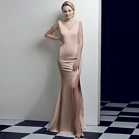 Flesh Crystal Beading V Neck Sleeveless Open Slit Straight Elegant Party Dress Women Formal Dresses Evening Wear Sexy Clubwear