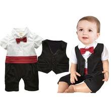 Newborn Baby Boy Clothes Set Spring Handsome Baby Boy Suit Fashion Vetement Garcon Vest +Rompers Bebek Baby Cloting Set