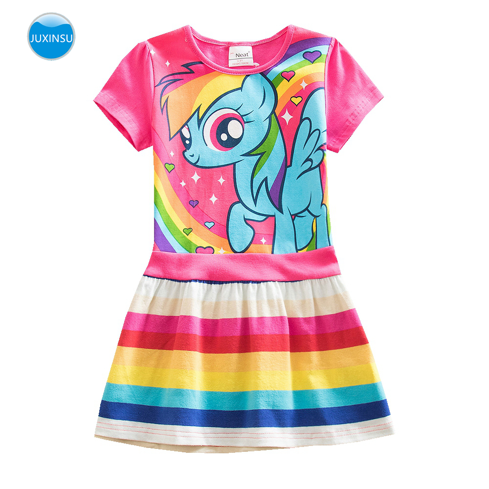 JUXINSU My Baby Girl Summer Little Pony Cartoon Girls Rainbow Costume Casual Short Sleeve Dresses Pony Dress Home Wear 1-8 Year