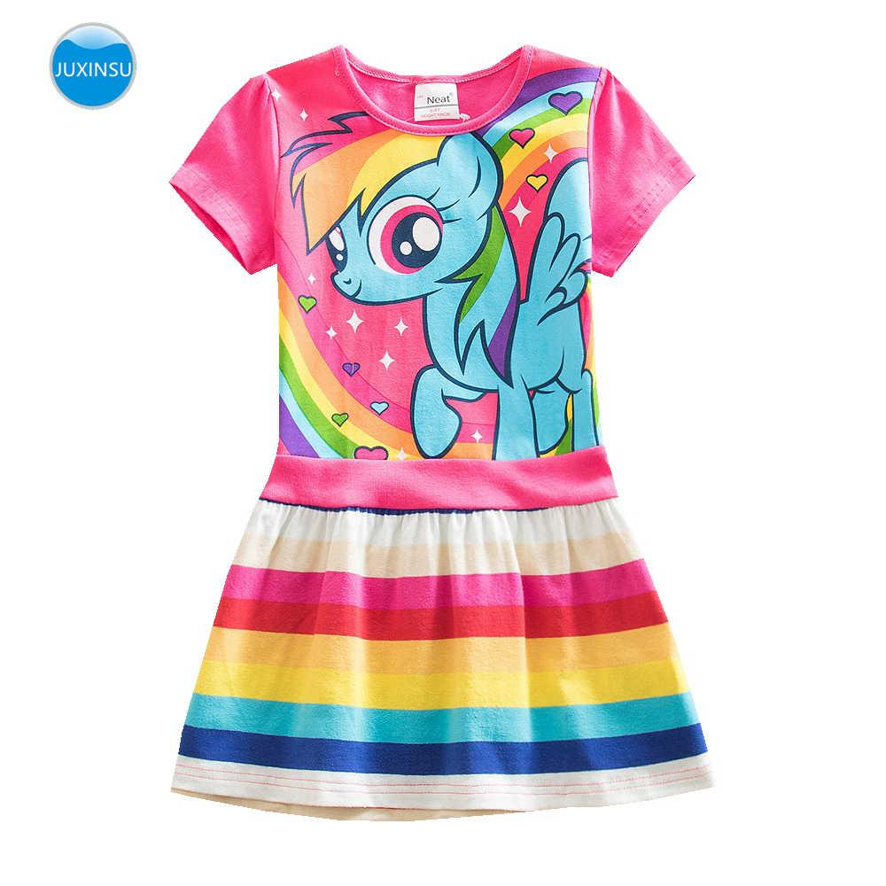 Juxinsu minha menina do bebê verão pequeno pônei dos desenhos animados meninas arco-íris traje casual vestidos de manga curta pônei vestido casa wear 1-8 ano