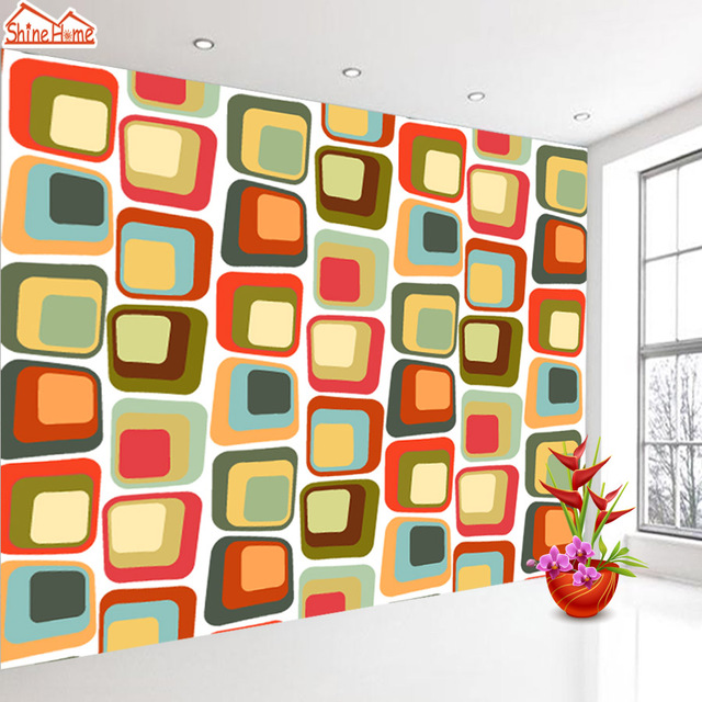 ShineHome Cartoon Colorful Brick 3d Wallpaper Mural Wallpapers for 3 ...