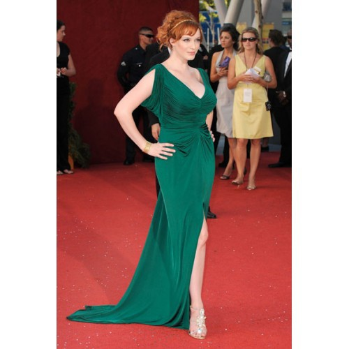 Christina Hendricks Green V neck gown 2012 Emmy Awards Red Carpet celebrity Evening  dresses Prom gowns-in Celebrity-Inspired Dresses from Weddings   Events ... 6d0152fd0b09
