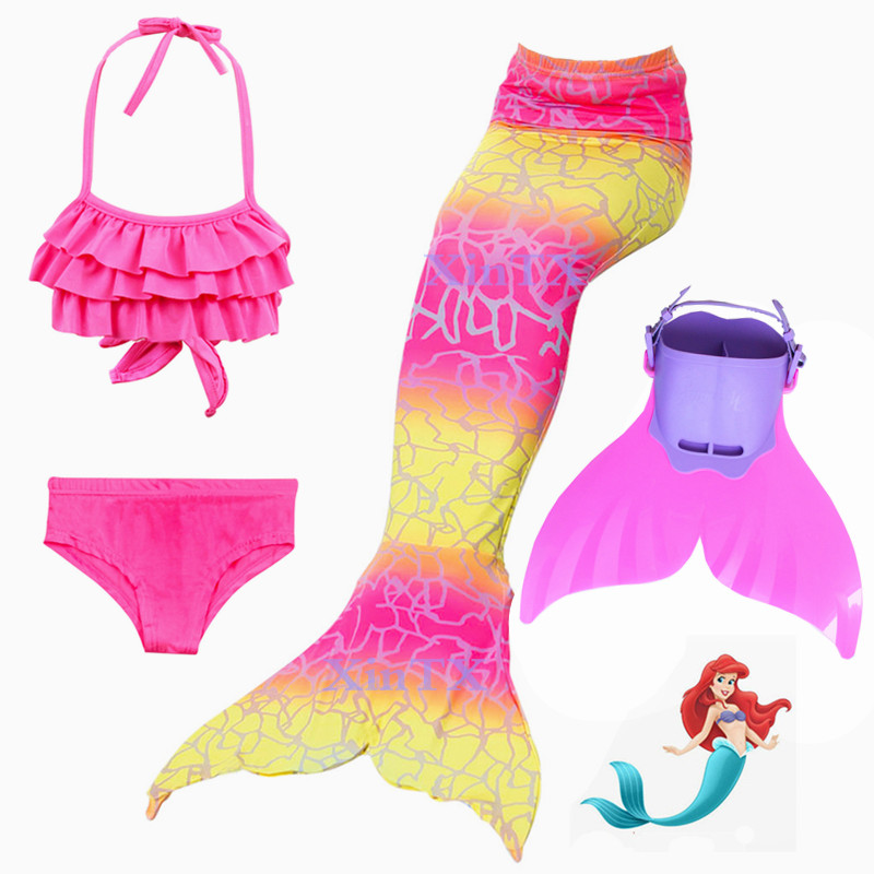 NEW!Girls Kids Swimming Swimmable Mermaid Tail with Monofin Mermaid Swimsuit Bikini Fin Children Mermaid Tails Costume