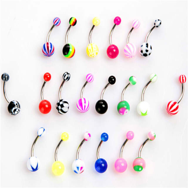 50pcs Lot New Acrylic Belly Button Rings Double Belly Piercing Barbell Surgical Steel Navel Piercing Women Fashion Body Jewelry