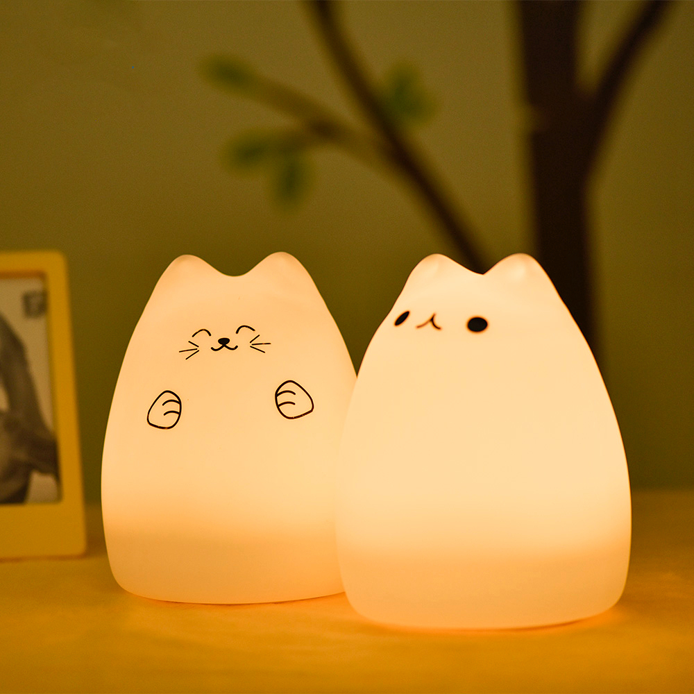 SuperNight Cute Cartoon Cat LED Night Light 7 Colors Silicone Rechargeable TapRemote Control Children Baby Bedside Table Lamp (7)