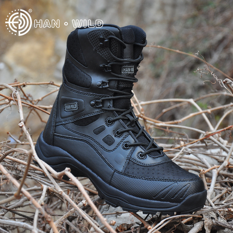Hiking Outdoor Camping Boots Men Leather Climbing Trekking Hunting Mountain Sneakers Shoes Man Soldier Tactical Military