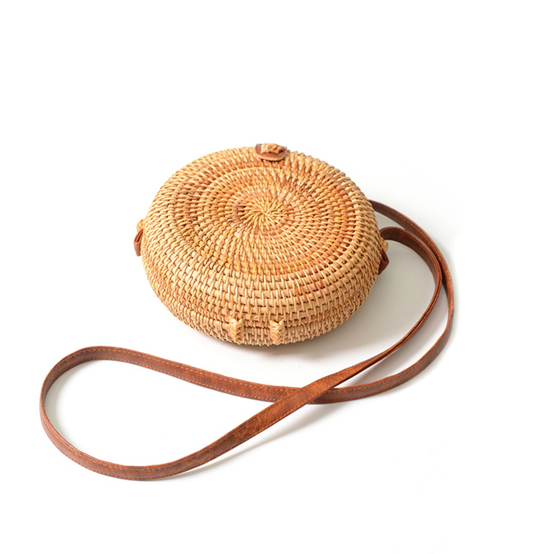 DCOS INS new ladies hand-woven bag round rattan retro literary hand-woven leather buckle package Bohemia Beach Messenger bag new fashion ladies hand woven bamboo bag retro beach round bamboo package bohemian shoulder messenger bag