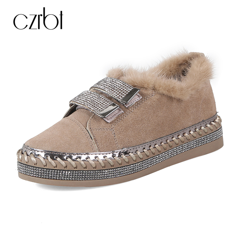 CZRBT Crystal Bordered Real Fur Women Shoes Autumn Winter Cow Suede Leather Flat Shoes High Quality Round Toe Casual Women Flat hot sale pritech brand professional electric hair clipper for men baby family barber hair trimmer haircut machine