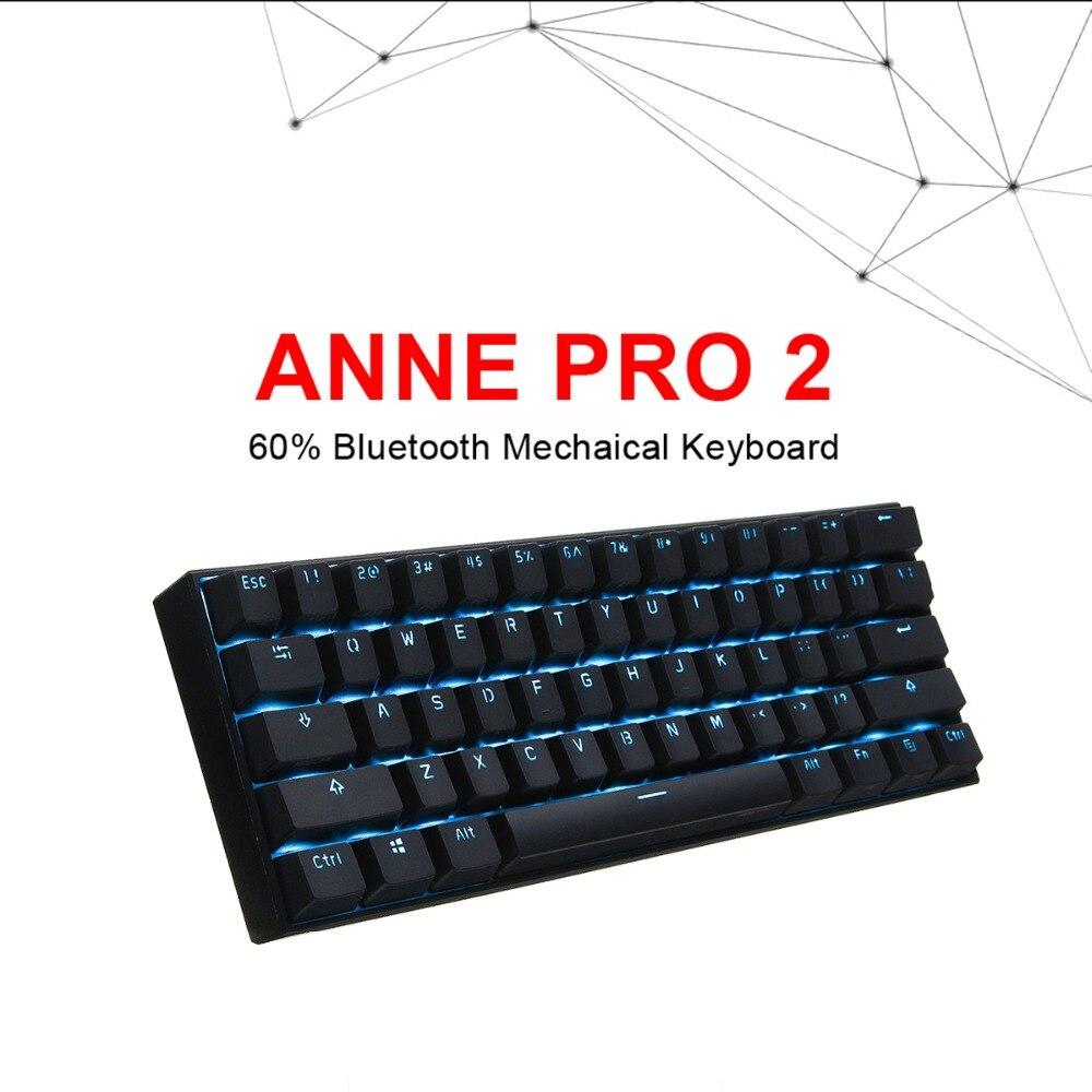 Anne Pro2 беспроводные, небольшие, bluetooth портативный 60% механическая клавиатура Kailh коробка переключатель Синий Коричневый переключатель игров...