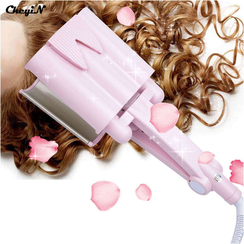 Ceramic Tourmaline Deep Waver Hair curler Triple Barrel Curler Hair Curling Iron  Dual Voltage 110v-240v Free Shipping HS35F 47Z vav automatic hair curler ceramic tourmaline curling iron magic hand heat up fast negative ions pink dual voltage