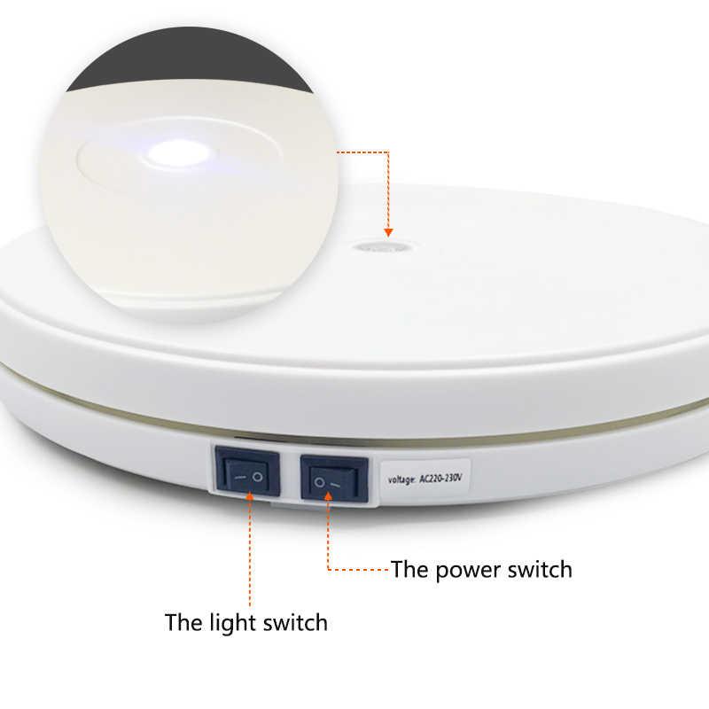 Белый 25 см светодиодный вращающийся на 360 градусов поворотный стол вращающийся дисплей подставка для фотографии ювелирные часы цифровой продукт