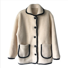 High Quality 2019 New Winter Jacket Coat Korea Dongdaemun Small Fragrance Lapels Lamb Hair Quilted Furry Thickening Women