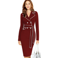 Autumn Winter Women Plus Size S 3XL Notched Collar Dress Fashion Sexy Splicing Package Hip Pencil